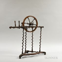 Carved, Turned, and Inlaid Hardwood Parlor Spinning Wheel