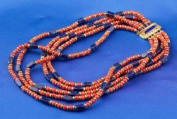 18kt Gold, Coral, and Lapis Four-Strand Collar