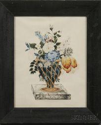 American School, 19th Century      Theorem of a Basket of Flowers.
