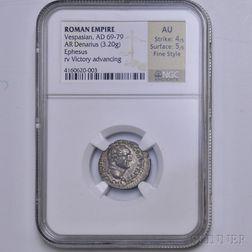 Roman Vespasian Denarius, NGC AU
