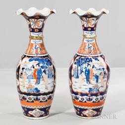 Pair of Imari Palace Vases