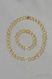 18kt Gold and Diamond Necklace and Bracelet, Paloma Picasso, Tiffany & Co.
