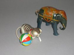 Two Lithographed Tin Clockwork Toys