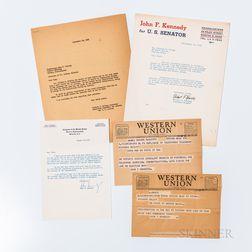Five Documents Relating to Congressman John F. Kennedy's 1952 Senatorial Campaign.