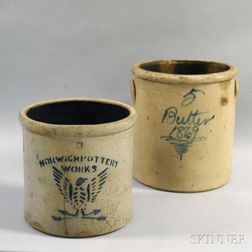 Two Cobalt-decorated Stoneware Crocks