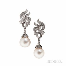 18kt White Gold and Pearl Earrings