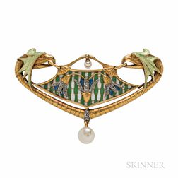 Art Nouveau 18kt Gold, Enamel, and Diamond Pendant/Brooch