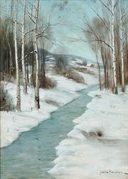 Svend Rasmussen Svendsen (American, 1864-1945)      Stream in Winter.