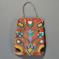 Plateau Beaded Hide and Cloth Bag