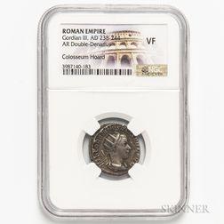 Roman Empire, Gordian III AR Double Denarius, Colosseum Hoard, NGC VF.     Estimate $40-60