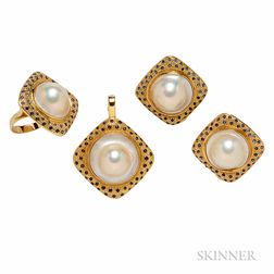 14kt Gold, Mabe Pearl, and Sapphire Suite