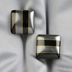 18kt Gold, Onyx, and Hematite Earclips, Tiffany & Co.