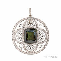Fine Edwardian Alexandrite and Diamond Pendant