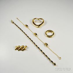 Four 18kt Gold Tiffany & Co. Jewelry Items