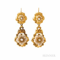 Antique Gold and Seed Pearl Day/Night Earrings