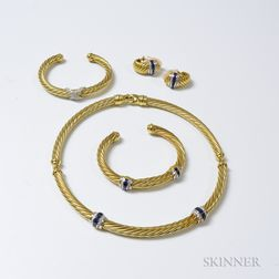 David Yurman 18kt Gold, Sapphire, and Diamond Choker, Cuff, and Earclip Suite