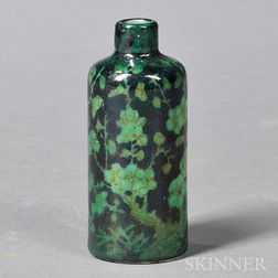 Green and Black Glazed Snuff Bottle