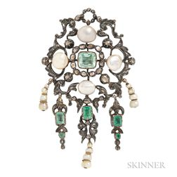 Renaissance Revival Silver, Emerald, and Diamond Brooch