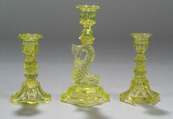 Three Canary Yellow Glass Candlesticks