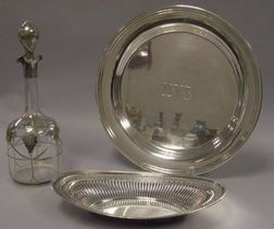 Sterling Silver Overlay Glass Decanter, a and Sterling Silver Bread Tray and Round Tray.