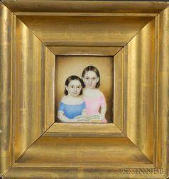 Attributed to Mrs. Moses B. Russell (Clarissa Peters), ( Massachusetts, 1809-1854) Double Portrait Miniatu...
