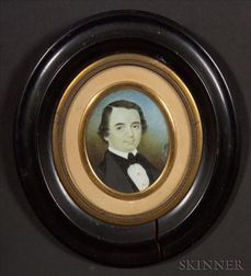 American School, 19th Century    Portrait Miniature of Daniel Hall.