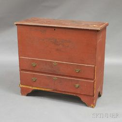 Red-painted Two-drawer Blanket Chest