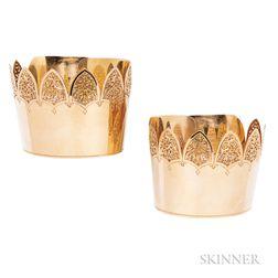 Rare Pair of Gold Manchette Bracelets