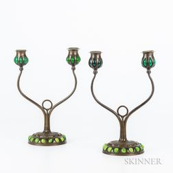 Pair of Tiffany Studios Two-arm Bronze Candlesticks