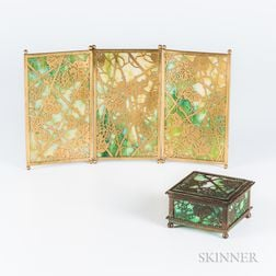 Tiffany Studios Grapevine-pattern Tea-screen and Box