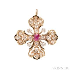 Victorian Revival 14kt Gold, Ruby, and Diamond Maltese Cross Pendant/Brooch