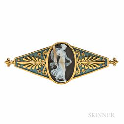Belle Epoque Georges Fouquet 18kt Gold, Hardstone Cameo, and Enamel Brooch
