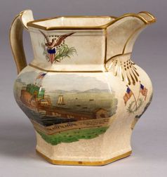 Polychrome Painted Transfer Decorated Earthenware Pitcher Commemorating The Landing of Lafayette at Castle Garden, New York City, Augus