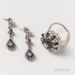 14kt White Gold, Sapphire, and Diamond Cluster Ring and a Similar Pair of Earrings