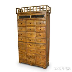 Glazed Wood Storage Cabinet