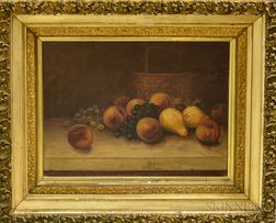American School, 19th Century      Tabletop Still Life with Fruit and Woven Basket