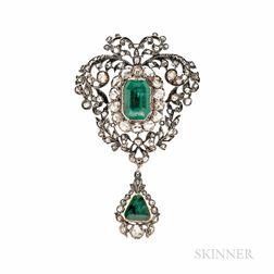 Antique Emerald and Diamond Brooch