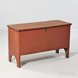 Small Red-painted Pine Storage Chest with Cutout Ends