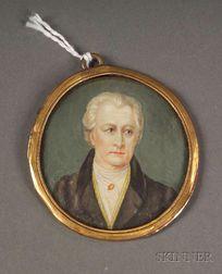 Continental Portrait Miniature on Ivory of the Author Johann Wolfgang Goethe
