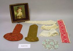 Group of Assorted 19th and 20th Century Printed Textile Fragments, Lace, Trim, Small Articles, Notions, Etc.