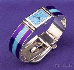 Sterling Silver and Enamel Wristwatch, Gucci