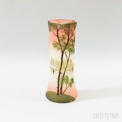 Scenic Landscape Vase in the Manner of Legras