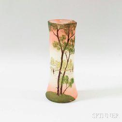 Scenic Landscape Vase in the Manner of Legras