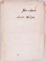 Adams, John (1735-1826) Signature, London, November 1783.