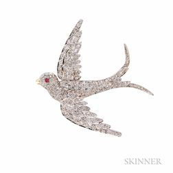 Antique Diamond Swallow Pendant/Brooch