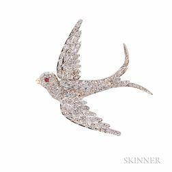 Antique Diamond Swallow Pendant/Brooch