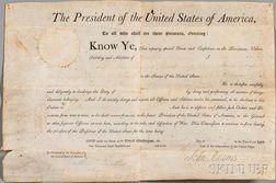 Adams, John (1735-1826) Signed Military Commission, 20 February 1801.