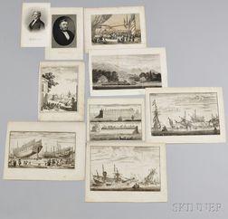 Nine Printed Portrait or Pictorial Views