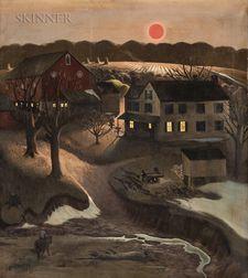 John Falter (American, 1910-1982)      Nighttime Farm Landscape