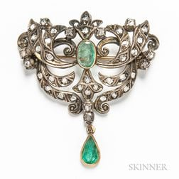 Portuguese Silver on 18kt Gold, Rose-cut Diamond, and Emerald Brooch